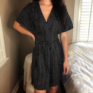 Diane Von Furstenberg Silk Navy Blk Striped Dress